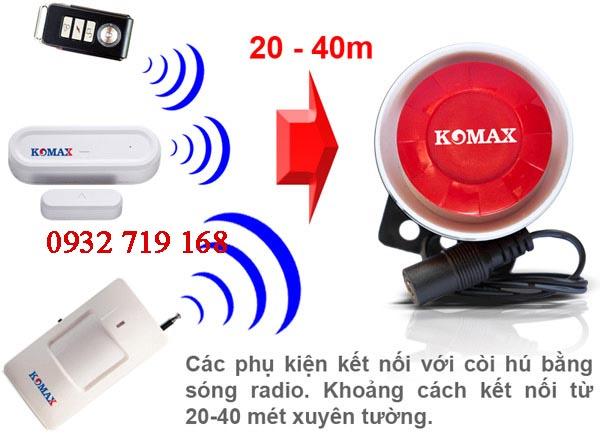 Hệ thống hú còi trung tâm không dây Komax KM-T55