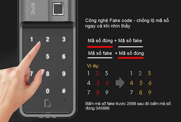 Khóa điện tử Epic ES-F700G sử dụng mã số ảo