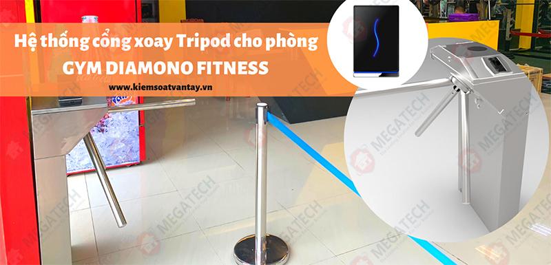 Thi công hệ thống cổng xoay Tripod cho phòng GYM DIAMONO FITNESS tại Hà Nội