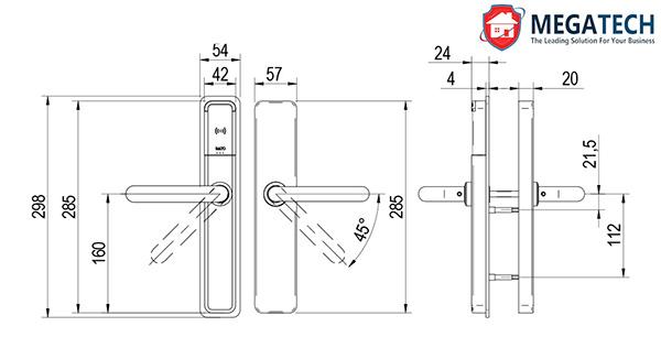 Kích thước khóa Salto XS4 One - DIN