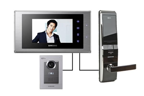 Sự kết hợp giữa bộ màn hình cửa thông minh và khóa điện tử Samsung