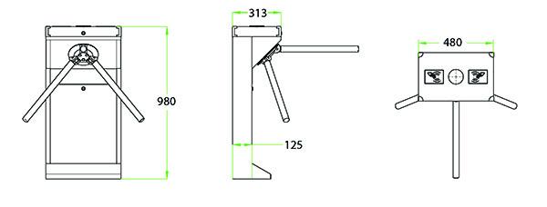 Kích thước cổng Tripod TS1000D series