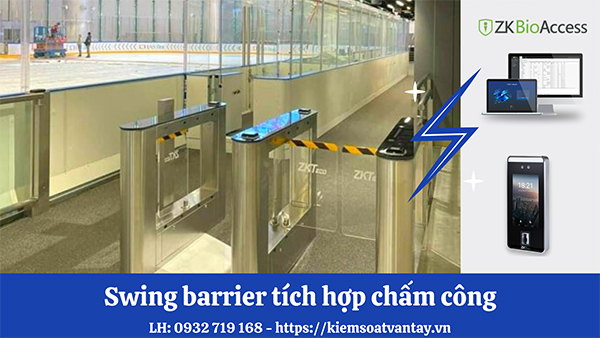 Cửa Swing Gate Barrier tích hợp chấm công hoàn hảo cho doanh nghiệp