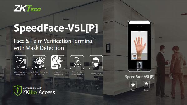 Máy chấm công khuôn mặt, lòng bàn tay, hỗ trợ đo nhiệt SpeedFace V5L[P]